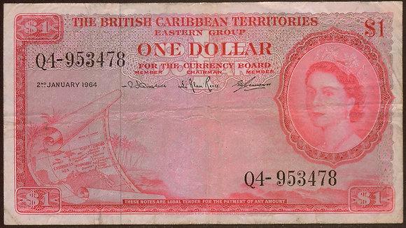 BRITISH CARIBBEAN TERRITORIES 1964 1 Dollar VF