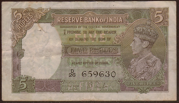 INDIA 1937 5 Rupees net Very Fine