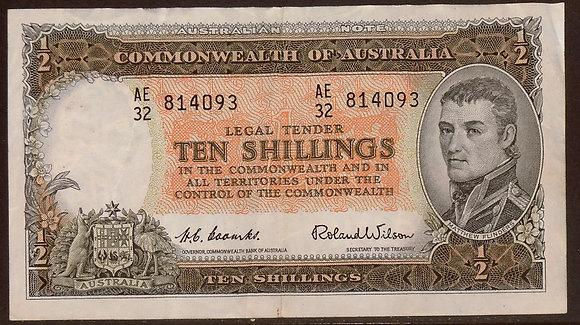 AUSTRALIA 1961 10 Shillings VF