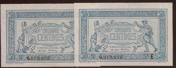 FRANCE 1917 50 Centimes  AU/UNC