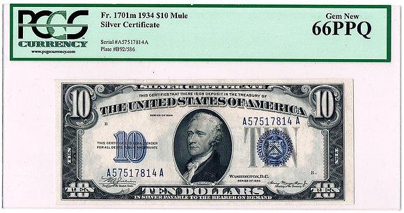 1934 $10 Silver Certificate PMG GEM 66 EPQ