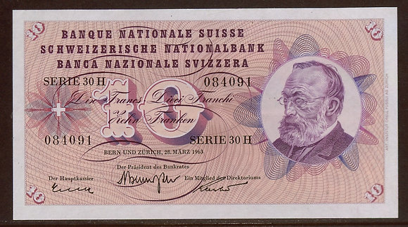 SWITZERLAND 1963 10 Francs UNC