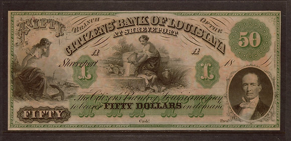 Shreveport, LOUISIANA 1800's $50 AU