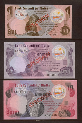 MALTA 1967 1, 5 & 10 Pound SPECIMEN Banknotes.
