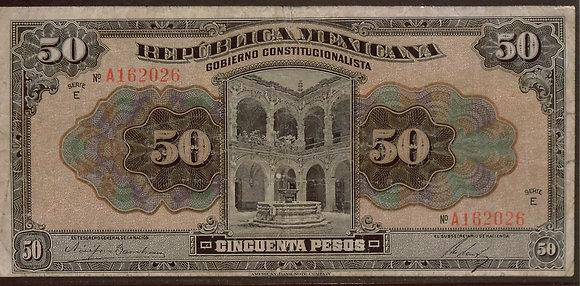 MEXICO 1915 50 Pesos Fine