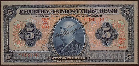 BRAZIL 1925 20 Mil Reis Choice VF+