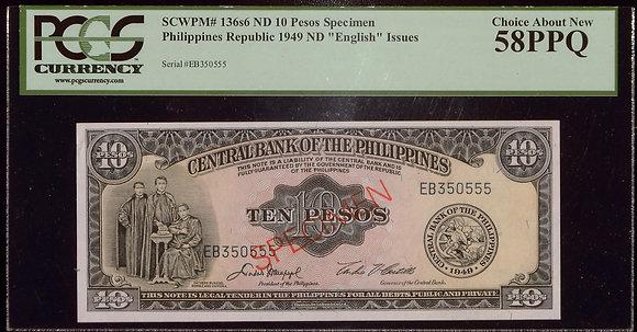 PHILIPPINES 1949 10 Pesos SPECIMEN PCGS AU 58 PPQ