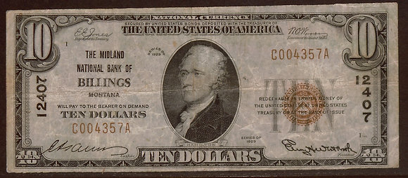 BILLINGS, MT 1929 Type 1 $10 abt. VF (Midland Nati