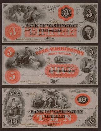 NORTH CAROLINA $3, $5 & $10 (Bank of Washington)