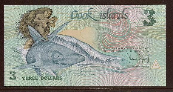 COOK ISLANDS 1987 $3 UNC