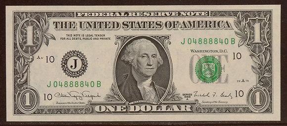 1988A $1 Federal Reserve RADAR Note (04888840)
