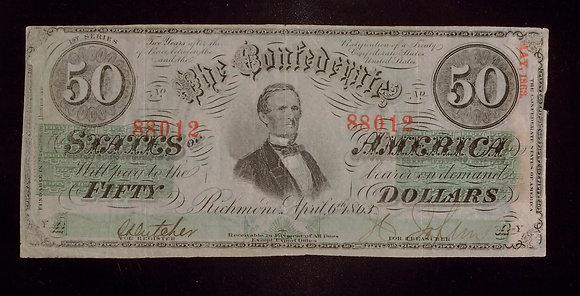 T57-408 1863 $50 Fine