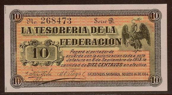 Sonora, Mexico 1914 10 Centavos UNC