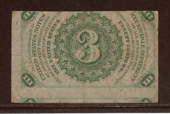 FR. 1226 3rd Issue 3 cents Fine (Offset Back) SOLD