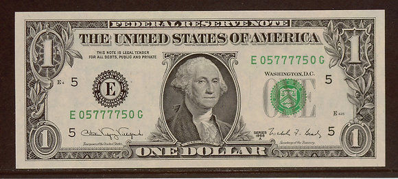 1988A $1 Federal Reserve RADAR Note (05777750)