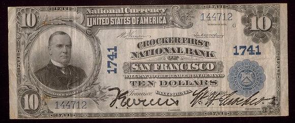 San Francisco, CA 1902 Plain Back $10 apt.VF (Croc