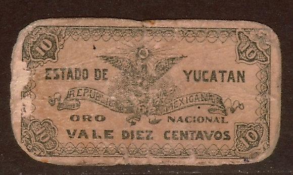 YUCATAN, MEXICO 10 Centavos Very Good