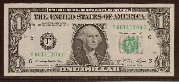 1981A $1 Federal Reserve RADAR Note (80111108)