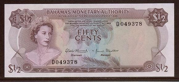 BAHAMAS 1980 ½ Dollar UNC