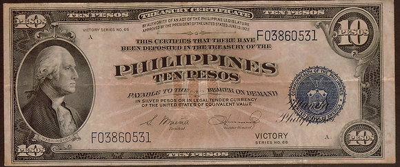 PHILIPPINES VICTORY Series 10 Pesos Very Fine