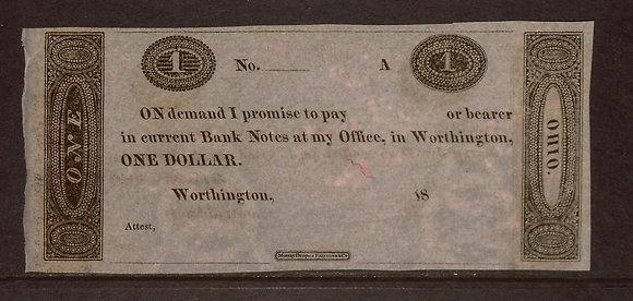Worthington, OH 1810's $1 AU (E.Griswold Office)