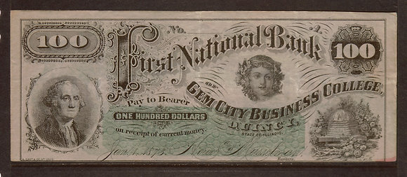 QUICY, ILLINOIS 1873 $100 Very Fine+ (Business)