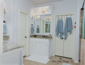 This gorgeous bathroom needed an update. Originally it was very dated with faux worm holes and yellow paint. Now it is frech and bright in SW Alabaster.