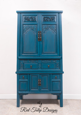 Prussian Blue And Black Glaze Asian Armoire