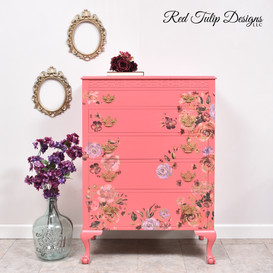 Coral Crush And Flowers Chest Of Drawers