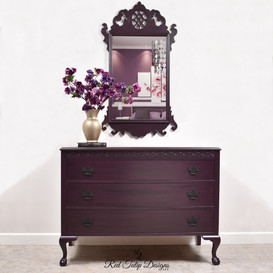 Black Cherry Chest Of Drawers And Mirror