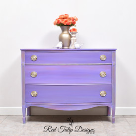 This one to me looks like an Oklahoma Sunset after days of rain. I used Dixie Belle Amethyst, Lucky Lavender, and Blueberry and a touch of General Finishes Coral Crush. Hardware, details, and raised stencils were done in Fusion Aged Gold. Everything sealed with a durable matte Polycrylic. Perfect for your little girl or if you're a purple fan like me.