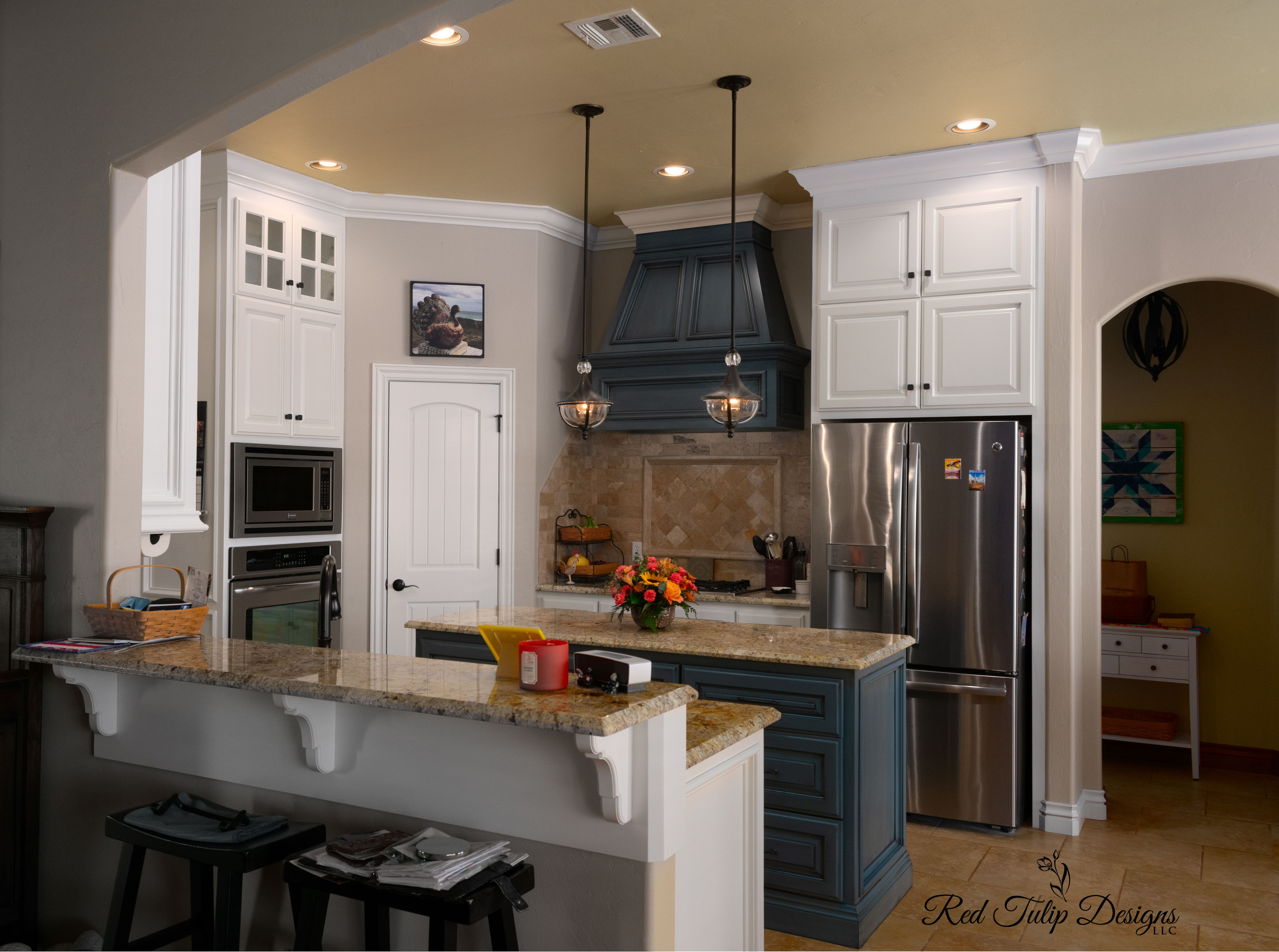 Kitchen_With_Blue_Range_Hood_And_Powder_