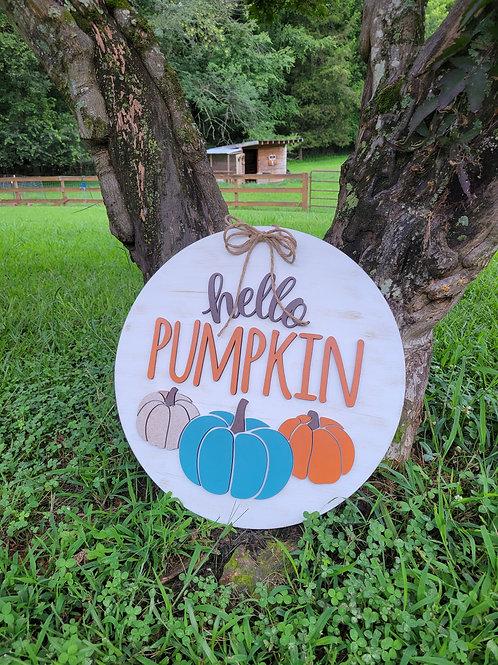 Hello Pumpkin Round Fall Door Hanger Craft