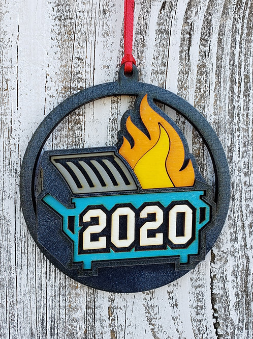 2020 Dumpster Fire Hand Painted Hand Assembled Wood Ornament