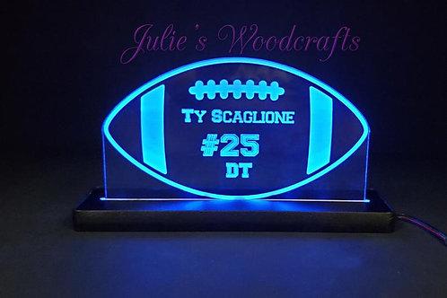 Football Custom Acrylic Name Sign Team or Coach Gift Trophy