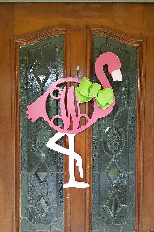 Flamingo Monogram Door Hanger