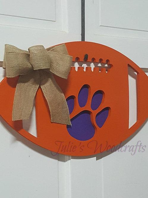 Clemson Tigers Wooden Football Door Hanger