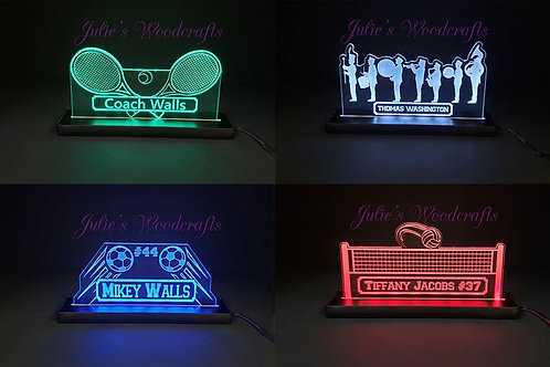 Tennis Custom Acrylic Name Sign Team or Coach Gift Trophy