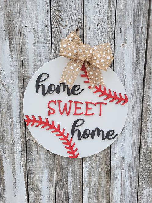 Home Sweet Home Baseball Round Door Hanger Craft