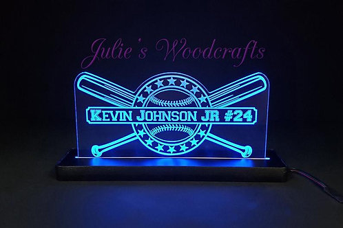 Baseball Custom Acrylic Name Sign Team or Coach Gift Trophy