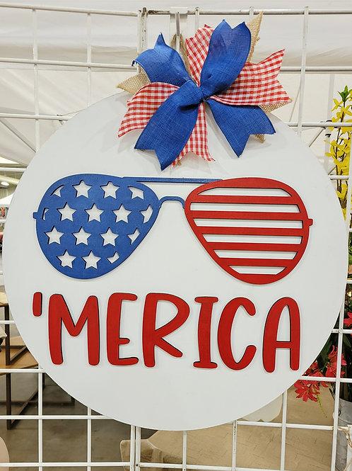 'Merica 4th of July Round Door Hanger