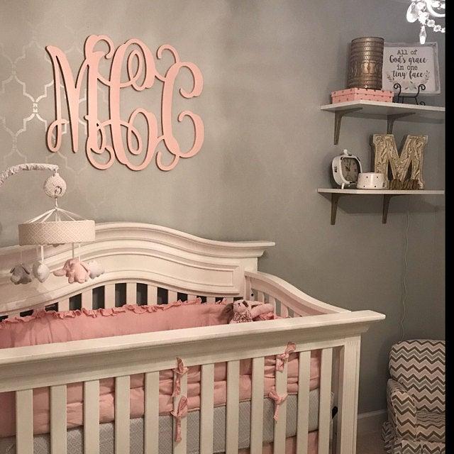 mCc pink nursery monogram