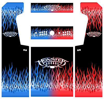 Red Vs. Blue Flames Arcade Art