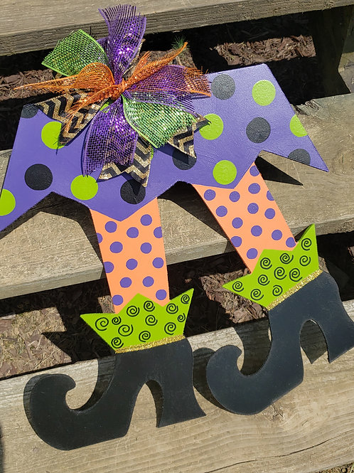 Witches Legs Wood Halloween Fall Door Hanger