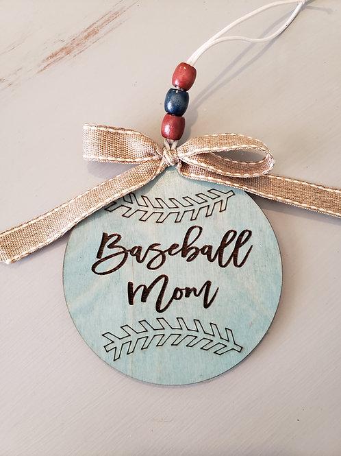 Baseball Mom Car Charm Key Ring Mom Gift