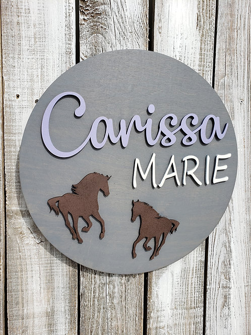 Custom Double Name Round Horse Bedroom Sign