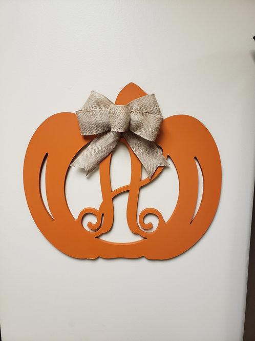 Painted Pumpkin Monogram Door Hanger