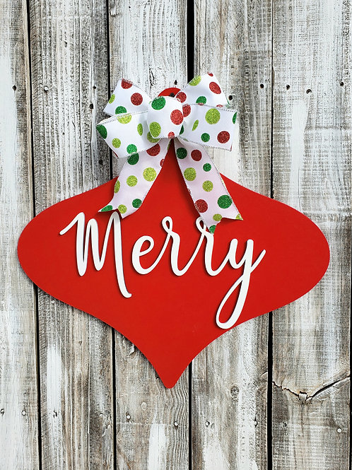 Merry Christmas Ornament Door Hangers for Double Doors