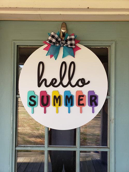 Hello Summer Round Door Hanger Craft