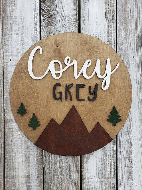 Custom Double Name Round Mountain Woodlands Nursery Sign